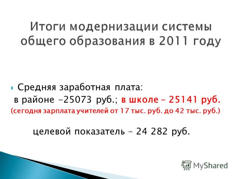 Средняя заработная плата: в районе -25073 руб.; в школе – 25141 руб. (сегодня зарплата учителей от 17 тыс. руб. до 42 тыс. руб.) целевой показатель – 24 282 руб.