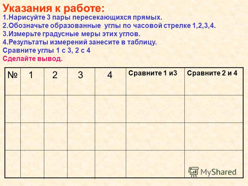 1.Нарисуйте 3 пары пересекающихся прямых. 2.Обозначьте образованные углы по часовой стрелке 1,2,3,4. 3.Измерьте градусные меры этих углов. 4.Результаты измерений занесите в таблицу. Сравните углы 1 с 3, 2 с 4 Сделайте вывод. Указания к работе: 1 2 3