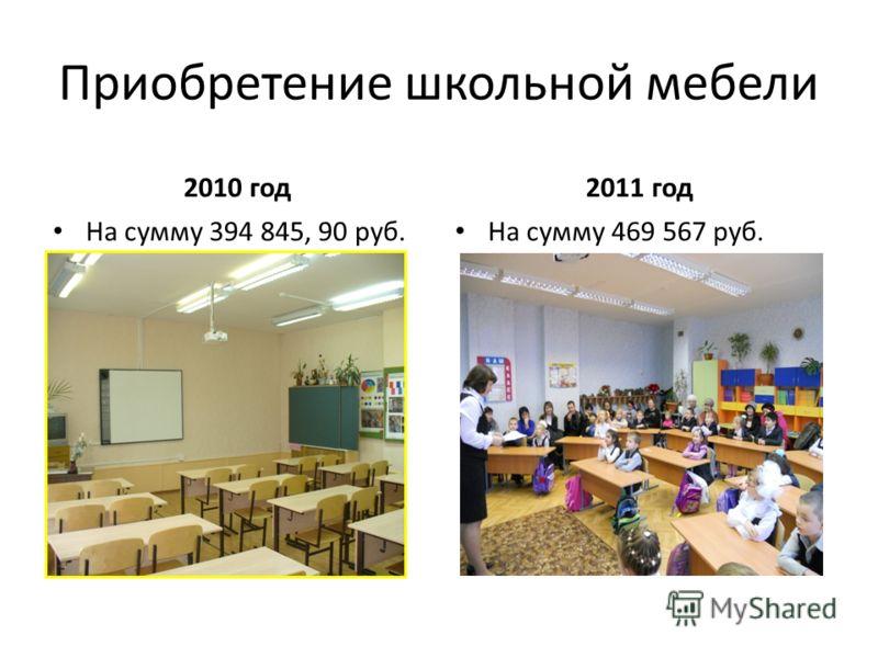 Приобретение школьной мебели 2010 год На сумму 394 845, 90 руб. 2011 год На сумму 469 567 руб.