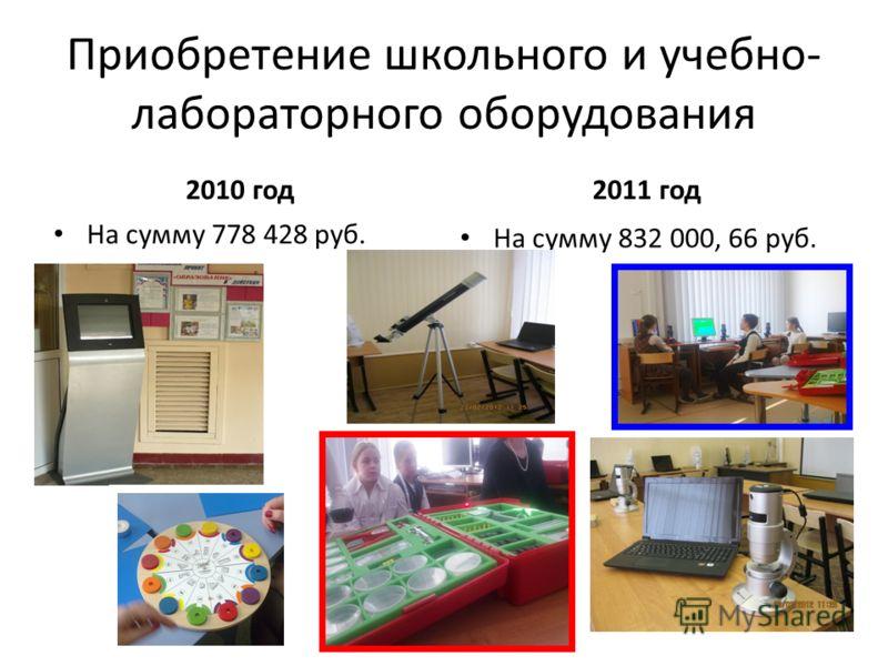Приобретение школьного и учебно- лабораторного оборудования 2010 год На сумму 778 428 руб. 2011 год На сумму 832 000, 66 руб.