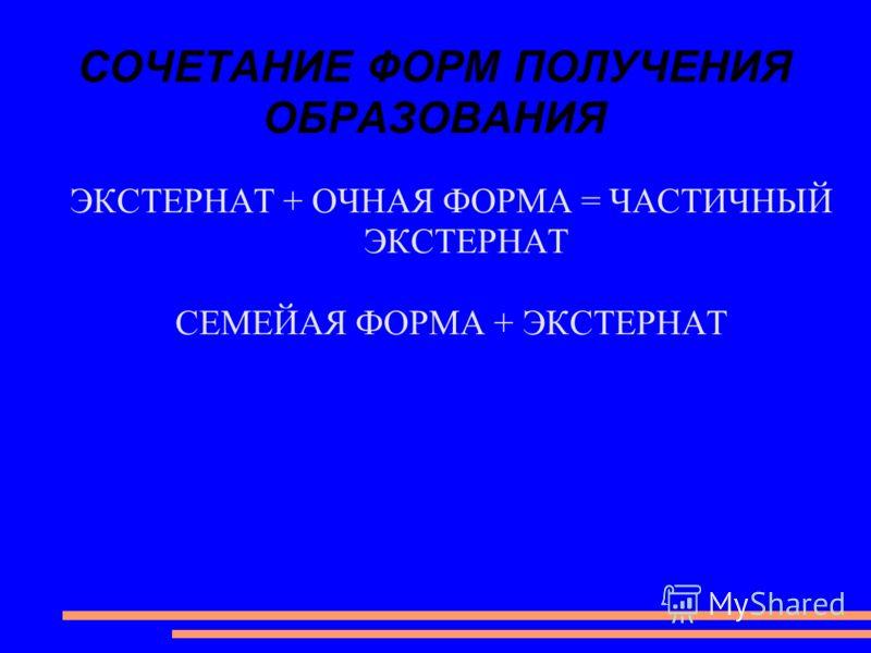 СОЧЕТАНИЕ ФОРМ ПОЛУЧЕНИЯ ОБРАЗОВАНИЯ ЭКСТЕРНАТ + ОЧНАЯ ФОРМА = ЧАСТИЧНЫЙ ЭКСТЕРНАТ СЕМЕЙАЯ ФОРМА + ЭКСТЕРНАТ