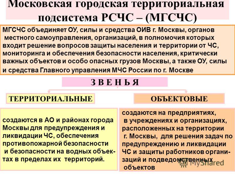 Московская городская территориальная подсистема РСЧС – (МГСЧС) МГСЧС объединяет ОУ, силы и средства ОИВ г. Москвы, органов местного самоуправления, организаций, в полномочия которых входит решение вопросов защиты населения и территории от ЧС, монитор