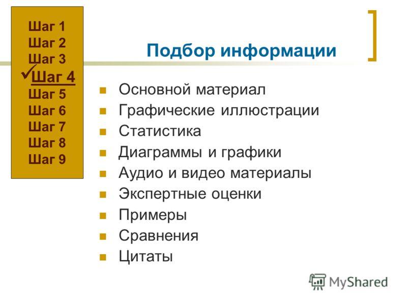 Подбор информации Основной материал Графические иллюстрации Статистика Диаграммы и графики Аудио и видео материалы Экспертные оценки Примеры Сравнения Цитаты Шаг 1 Шаг 2 Шаг 3 Шаг 4 Шаг 5 Шаг 6 Шаг 7 Шаг 8 Шаг 9