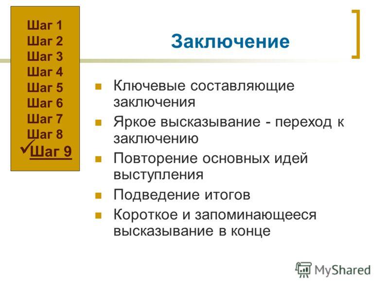 Заключение Ключевые составляющие заключения Яркое высказывание - переход к заключению Повторение основных идей выступления Подведение итогов Короткое и запоминающееся высказывание в конце Шаг 1 Шаг 2 Шаг 3 Шаг 4 Шаг 5 Шаг 6 Шаг 7 Шаг 8 Шаг 9