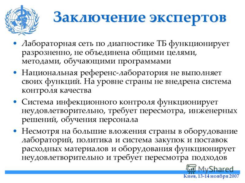 Киев, 13-14 ноября 2007 Заключение экспертов Лабораторная сеть по диагностике ТБ функционирует разрозненно, не объединена общими целями, методами, обучающими программами Национальная референс-лаборатория не выполняет своих функций. На уровне страны н