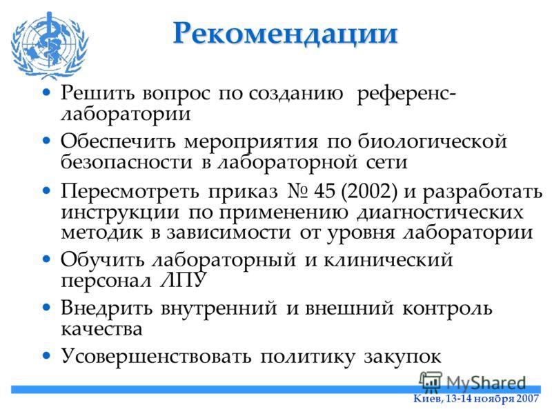 Киев, 13-14 ноября 2007 Рекомендации Решить вопрос по созданию референс- лаборатории Обеспечить мероприятия по биологической безопасности в лабораторной сети Пересмотреть приказ 45 (2002) и разработать инструкции по применению диагностических методик