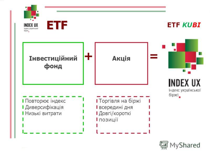 + = ETF Інвестиційний фонд Акція ETF KUBI Повторює індекс Диверсифікація Низькі витрати Торгівля на біржі всередині дня Довгі/короткі позиції