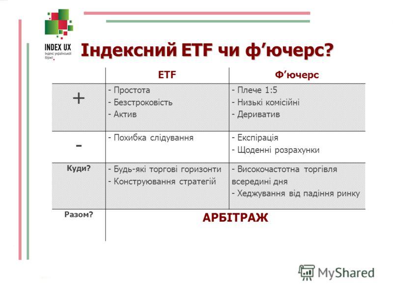 Індексний ETF чи фючерс? ETFФючерс + - Простота - Безстроковість - Актив - Плече 1:5 - Низькі комісійні - Дериватив - - Похибка слідування - Експірація - Щоденні розрахунки Куди? - Будь-які торгові горизонти - Конструювання стратегій - Високочастотна