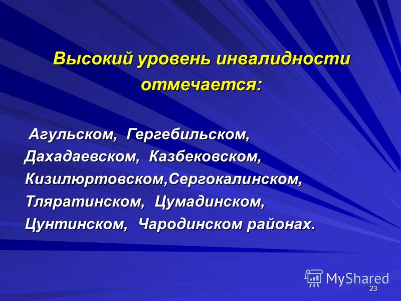 23 Высокий уровень инвалидности отмечается: Агульском, Гергебильском, Агульском, Гергебильском, Дахадаевском, Казбековском, Кизилюртовском,Сергокалинском, Тляратинском, Цумадинском, Цунтинском, Чародинском районах.