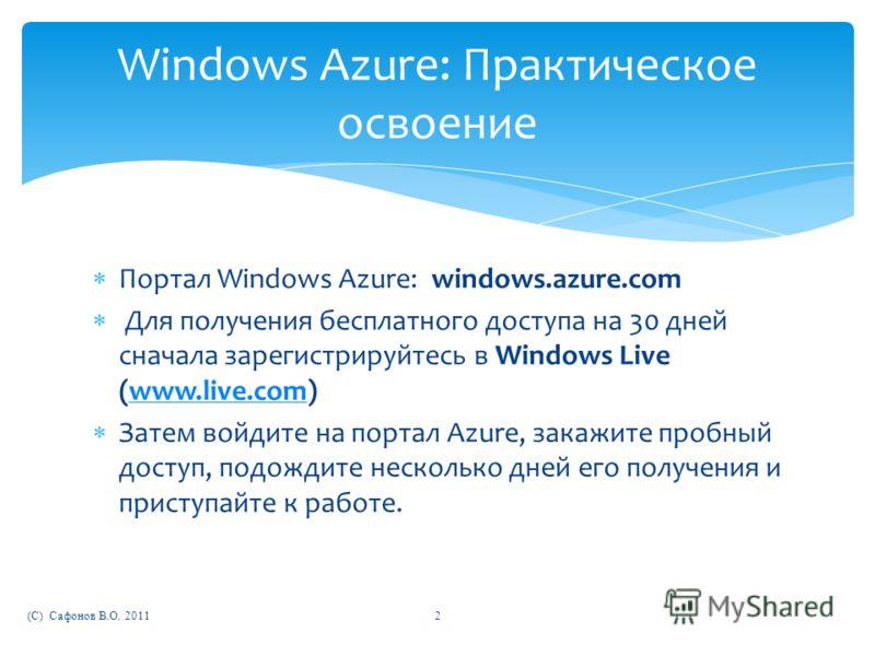 Портал Windows Azure: windows.azure.com Для получения бесплатного доступа на 30 дней сначала зарегистрируйтесь в Windows Live (www.live.com)www.live.com Затем войдите на портал Azure, закажите пробный доступ, подождите несколько дней его получения и