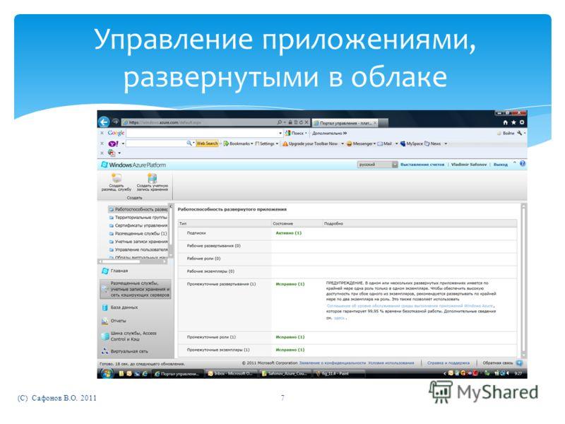 (C) Сафонов В.О. 20117 Управление приложениями, развернутыми в облаке