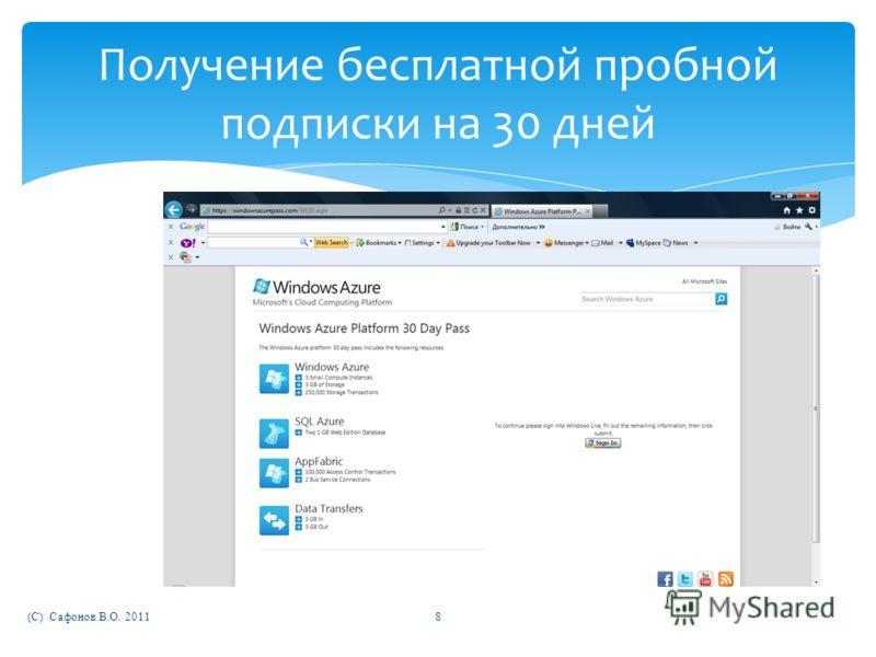 (C) Сафонов В.О. 20118 Получение бесплатной пробной подписки на 30 дней