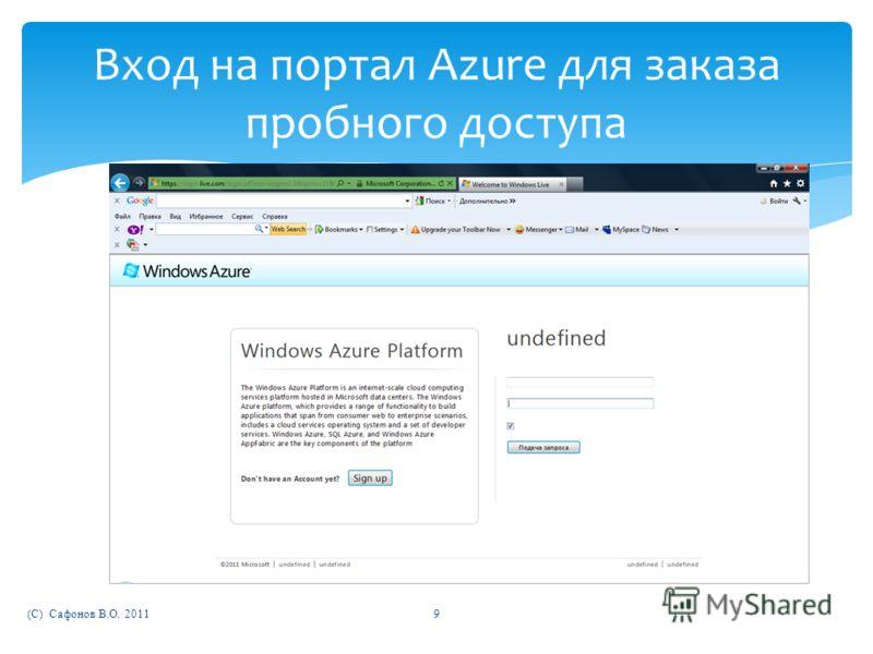 (C) Сафонов В.О. 20119 Вход на портал Azure для заказа пробного доступа