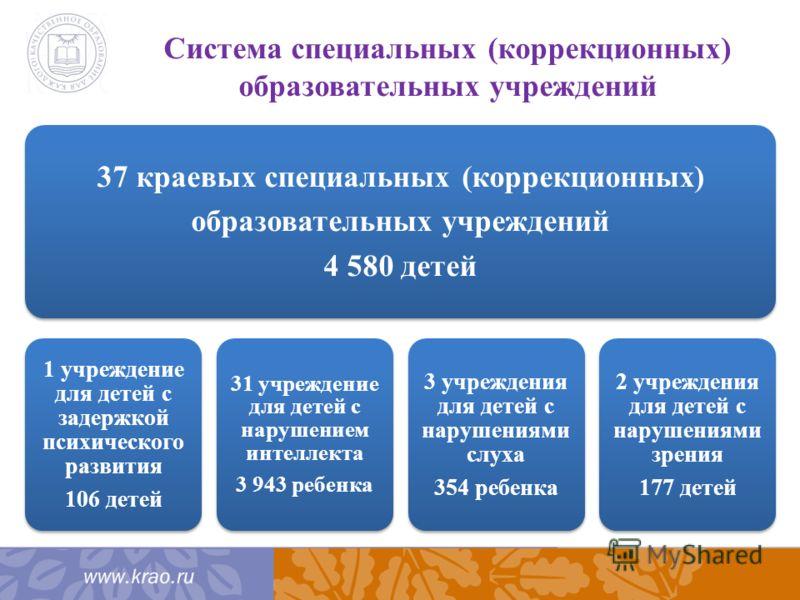 Система специальных (коррекционных) образовательных учреждений 37 краевых специальных (коррекционных) образовательных учреждений 4 580 детей 1 учреждение для детей с задержкой психического развития 106 детей 31 учреждение для детей с нарушением интел