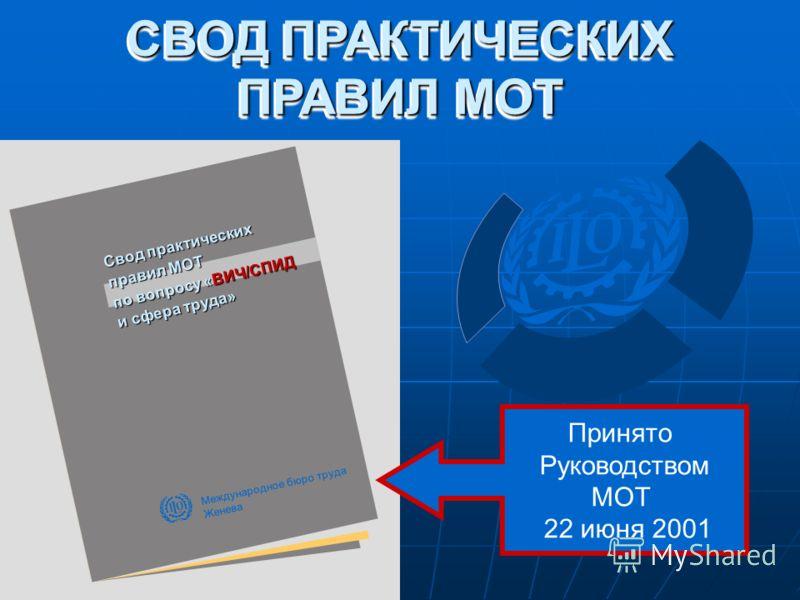 Свод практических правил МОТ по вопросу «ВИЧ/СПИД и сфера труда» СВОД ПРАКТИЧЕСКИХ ПРАВИЛ МОТ Международное бюро труда Женева Принято Руководством МОТ 22 июня 2001