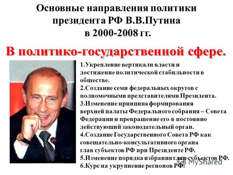 Основные направления политики президента РФ В.В.Путина в 2000-2008 гг. 1.Укрепление вертикали власти и достижение политической стабильности в обществе. 2.Создание семи федеральных округов с полномочными представителями Президента. 3.Изменение принцип