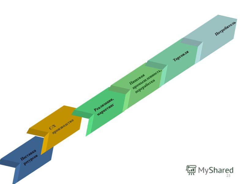 Поставка ресурсов С/Х производство Реализация, маркетинг Пищевая промышленность, переработка Торговля Потребитель 23