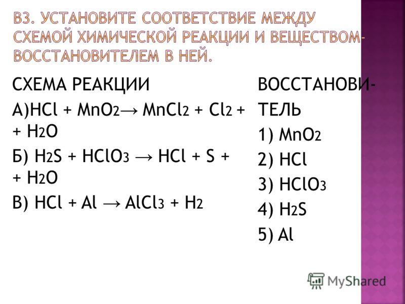 СХЕМА РЕАКЦИИ А)HCl + MnO 2 MnCl 2 + Cl 2 + + H 2 O Б) H 2 S + HClO 3 HCl + S + + H 2 O В) HCl + Al AlCl 3 + H 2 ВОССТАНОВИ- ТЕЛЬ 1) MnO 2 2) HCl 3) HClO 3 4) H 2 S 5) Al