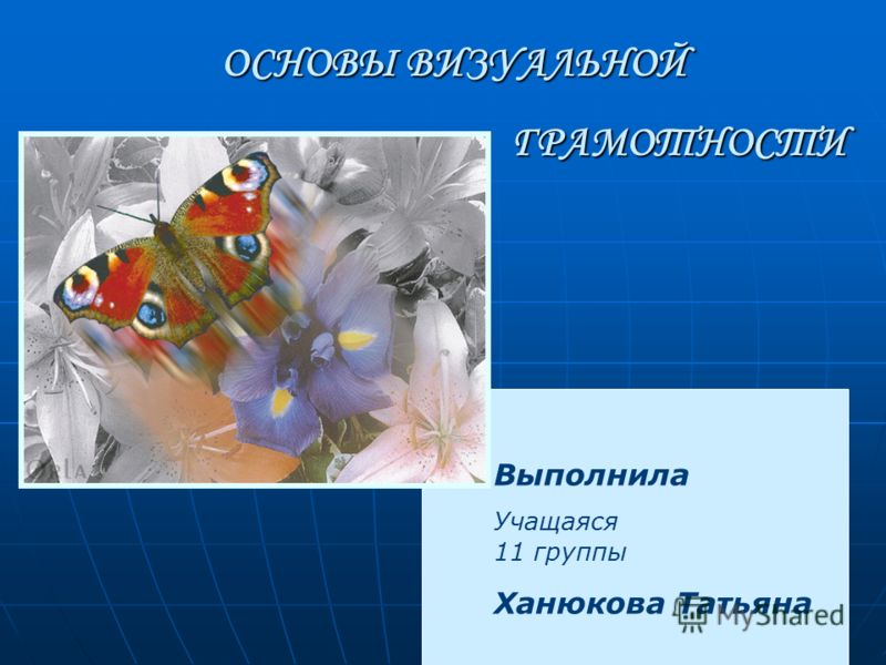 ОСНОВЫ ВИЗУАЛЬНОЙ ГРАМОТНОСТИ Выполнила Учащаяся 11 группы Ханюкова Татьяна