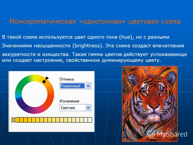 Монохроматическая «однотонная» цветовая схема В такой схеме используется цвет одного тона (hue), но с разными Значениями насыщенности (brightness). Эта схема создаст впечатления аккуратности и изящества. Такая гамма цветов действует успокаивающе или