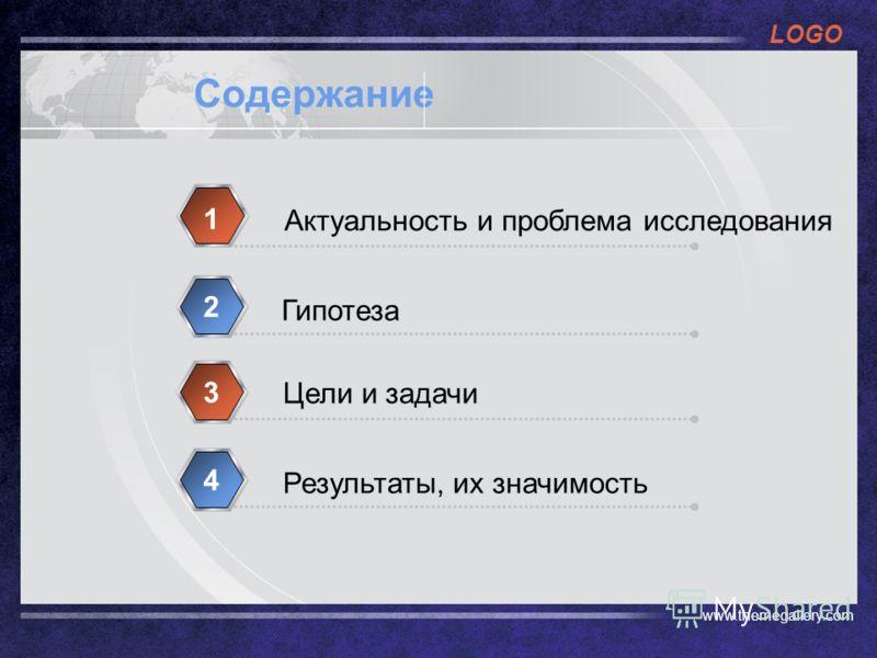 LOGO www.themegallery.com Содержание Актуальность и проблема исследования 1 Гипотеза 2 Цели и задачи 3 Результаты, их значимость 4