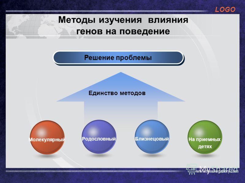 LOGO www.themegallery.com Методы изучения влияния генов на поведение Решение проблемы Единство методов На приемных детях БлизнецовыйРодословныйМолекулярный