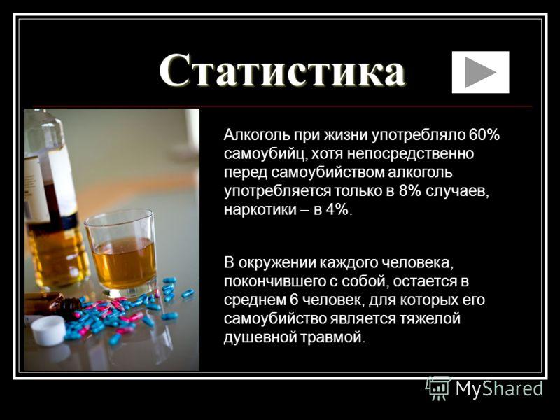 Статистика Алкоголь при жизни употребляло 60% самоубийц, хотя непосредственно перед самоубийством алкоголь употребляется только в 8% случаев, наркотики – в 4%. В окружении каждого человека, покончившего с собой, остается в среднем 6 человек, для кото