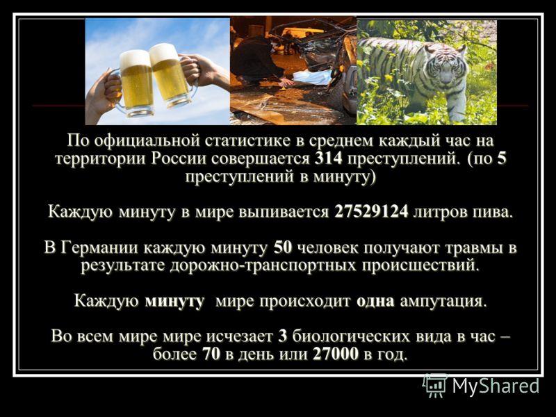 По официальной статистике в среднем каждый час на территории России совершается 314 преступлений. (по 5 преступлений в минуту) Каждую минуту в мире выпивается 27529124 литров пива. В Германии каждую минуту 50 человек получают травмы в результате доро