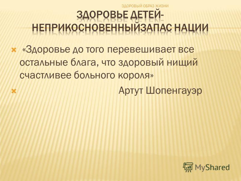«Здоровье до того перевешивает все остальные блага, что здоровый нищий счастливее больного короля» Артут Шопенгауэр ЗДОРОВЫЙ ОБРАЗ ЖИЗНИ