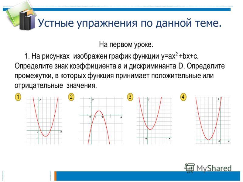 Устные упражнения по данной теме. На первом уроке. 1. На рисунках изображен график функции y=aх 2 +bx+с. Определите знак коэффициента а и дискриминанта D. Определите промежутки, в которых функция принимает положительные или отрицательные значения. 12