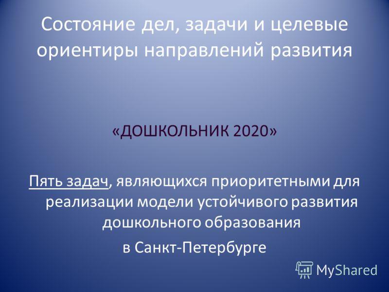Состояние дел, задачи и целевые ориентиры направлений развития «ДОШКОЛЬНИК 2020» Пять задач, являющихся приоритетными для реализации модели устойчивого развития дошкольного образования в Санкт-Петербурге