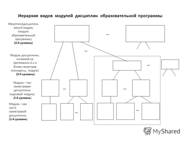 Меж(поли)дисциплин арный модуль (модуль образовательной программы) (4-й уровень) Модуль дисциплины, читаемой на протяжении 2-х и более семестров (монодисц. модуль) (3-й уровень) Модуль – как семестровая дисциплина (курсовой модуль) (2-й уровень) Моду