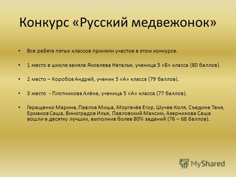 Конкурс «Русский медвежонок» Все ребята пятых классов приняли участие в этом конкурсе. 1 место в школе заняла Яковлева Наталья, ученица 5 «Б» класса (80 баллов). 2 место – Коробов Андрей, ученик 5 «А» класса (79 баллов). 3 место - Плотникова Алёна, у