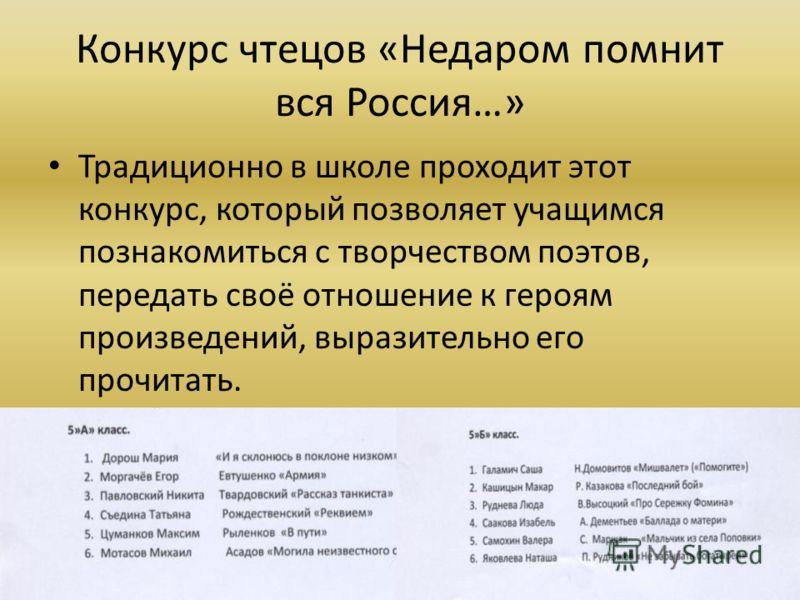 Конкурс чтецов «Недаром помнит вся Россия…» Традиционно в школе проходит этот конкурс, который позволяет учащимся познакомиться с творчеством поэтов, передать своё отношение к героям произведений, выразительно его прочитать.