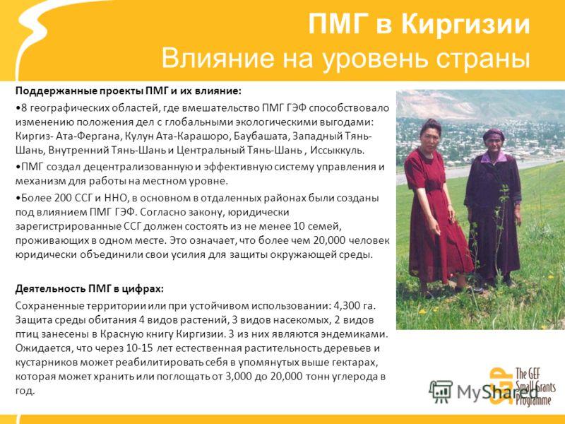 ПМГ в Киргизии Влияние на уровень страны Поддержанные проекты ПМГ и их влияние: 8 географических областей, где вмешательство ПМГ ГЭФ способствовало изменению положения дел с глобальными экологическими выгодами: Киргиз- Ата-Фергана, Кулун Ата-Карашоро