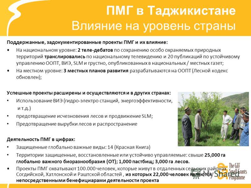 ПМГ в Таджикистане Влияние на уровень страны Поддержанные, задокументированные проекты ПМГ и их влияние: На национальном уровне: 2 теле-дебатов по сохранению особо охраняемых природных территорий транслировались по национальному телевидению и 20 публ