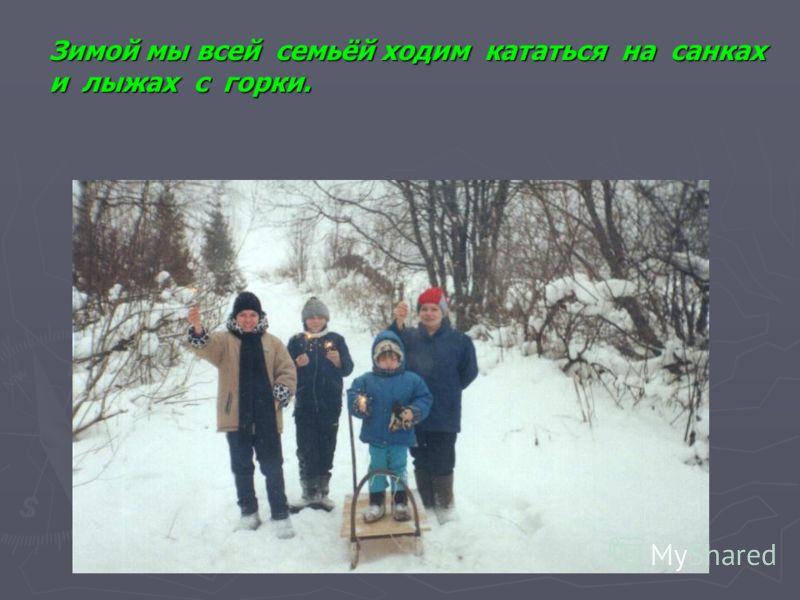 Зимой мы всей семьёй ходим кататься на санках и лыжах с горки.