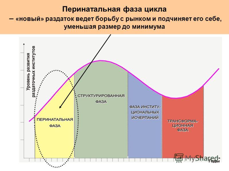 Перинатальная фаза цикла – «новый» раздаток ведет борьбу с рынком и подчиняет его себе, уменьшая размер до минимума