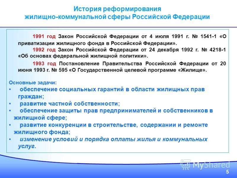 5 1991 год Закон Российской Федерации от 4 июля 1991 г. 1541-1 «О приватизации жилищного фонда в Российской Федерации». 1992 год Закон Российской Федерации от 24 декабря 1992 г. 4218-1 «Об основах федеральной жилищной политики». 1993 год Постановлени