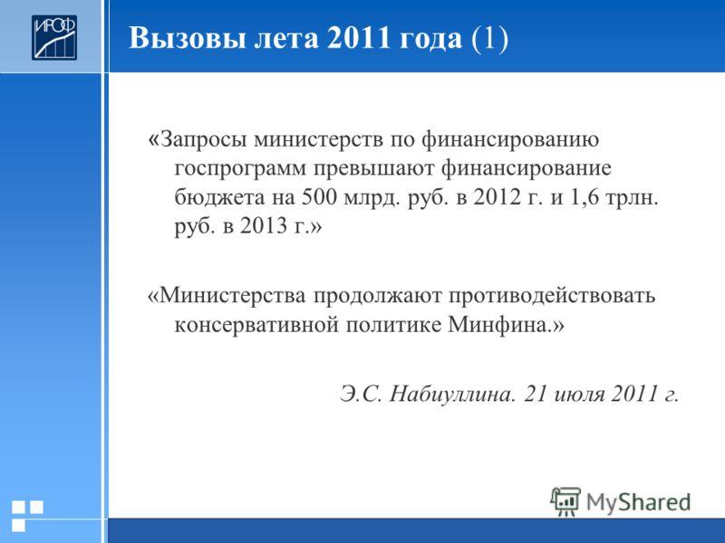 20.01.2006 Презентация « Запросы министерств по финансированию госпрограмм превышают финансирование бюджета на 500 млрд. руб. в 2012 г. и 1,6 трлн. руб. в 2013 г.» «Министерства продолжают противодействовать консервативной политике Минфина.» Э.С. Наб