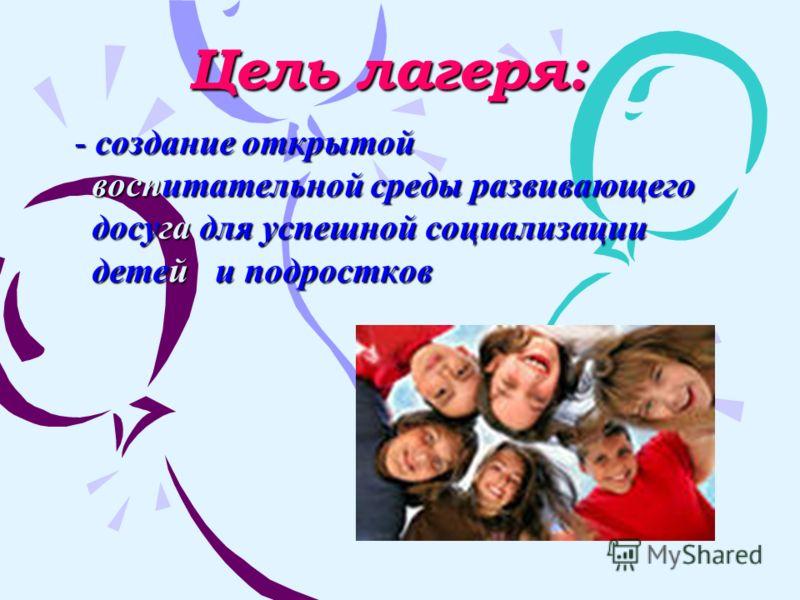 Цель лагеря: - создание открытой воспитательной среды развивающего воспитательной среды развивающего досуга для успешной социализации досуга для успешной социализации детей и подростков детей и подростков
