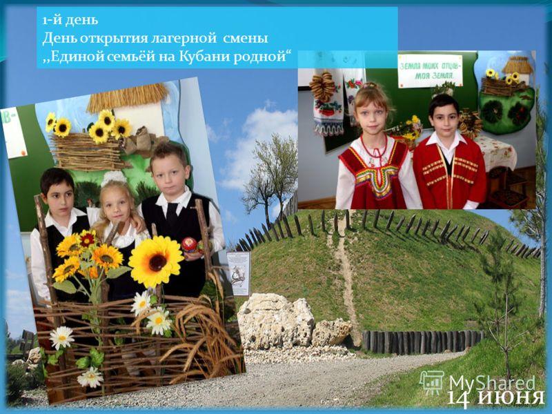 1-й день День открытия лагерной смены,,Единой семьёй на Кубани родной 14 июня