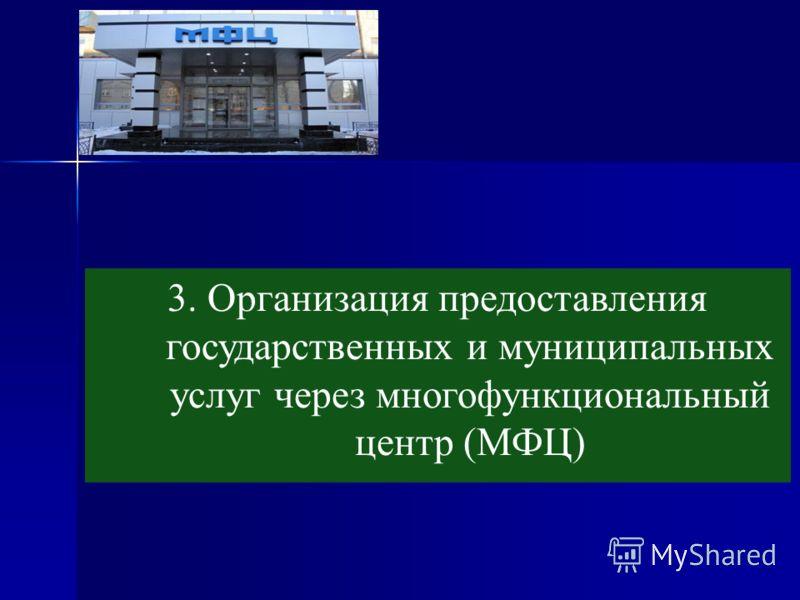 3. Организация предоставления государственных и муниципальных услуг через многофункциональный центр (МФЦ)