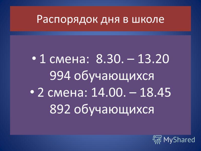 1 смена: 8.30. – 13.20 994 обучающихся 2 смена: 14.00. – 18.45 892 обучающихся