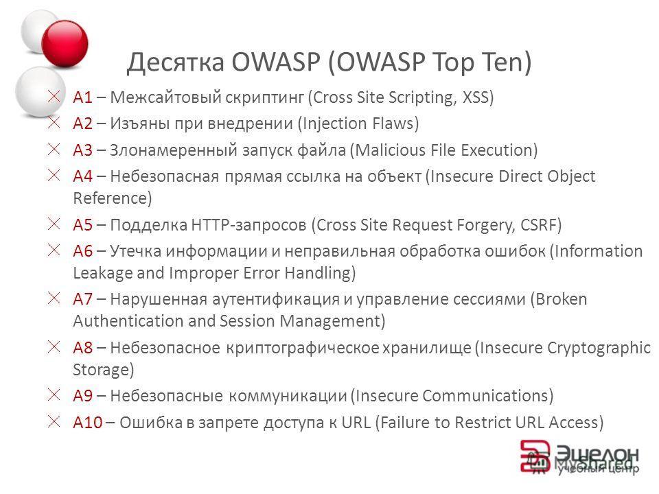 Десятка OWASP (OWASP Top Ten) A1 – Межсайтовый скриптинг (Cross Site Scripting, XSS) A2 – Изъяны при внедрении (Injection Flaws) A3 – Злонамеренный запуск файла (Malicious File Execution) A4 – Небезопасная прямая ссылка на объект (Insecure Direct Obj