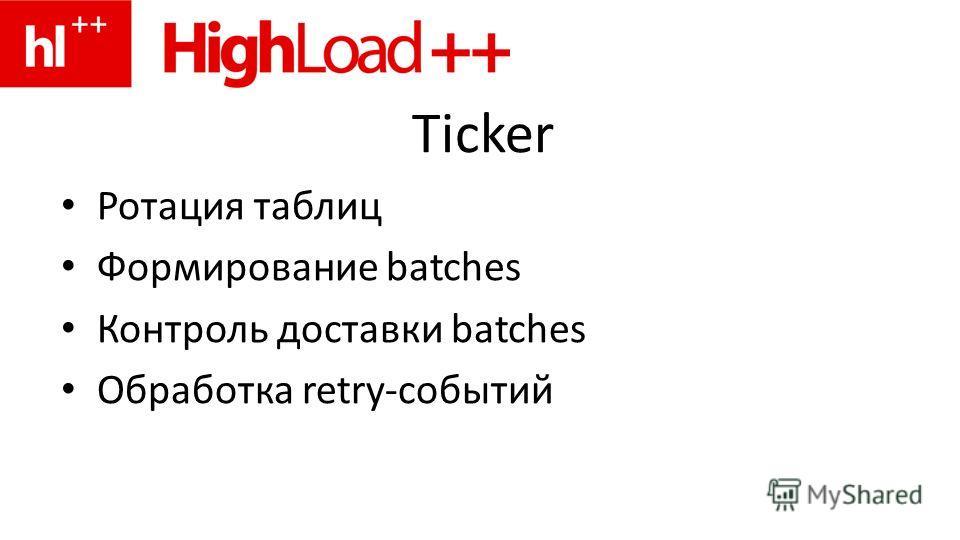 Ticker Ротация таблиц Формирование batches Контроль доставки batches Обработка retry-событий