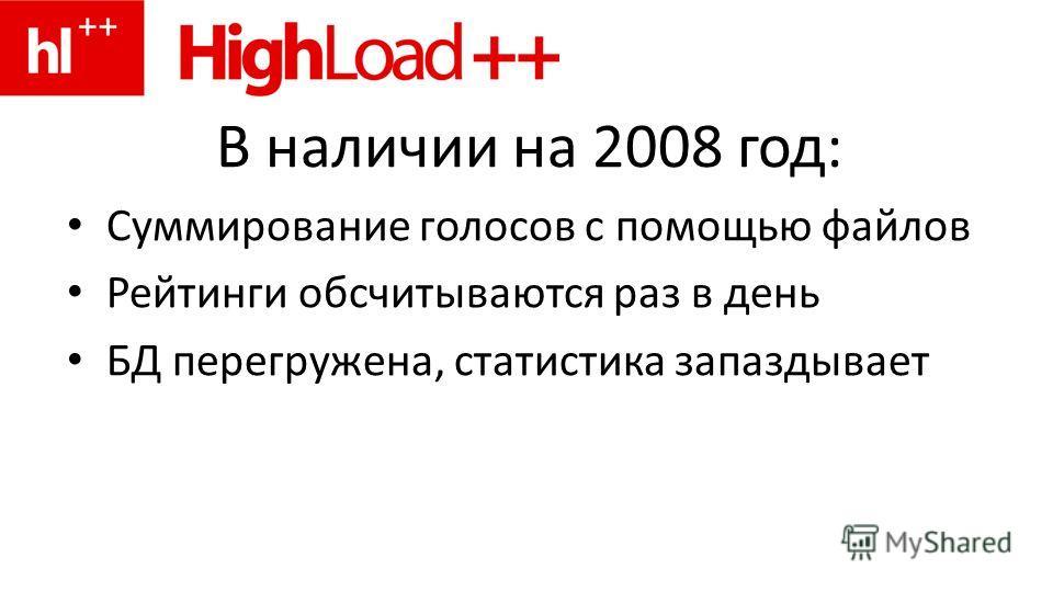 В наличии на 2008 год: Суммирование голосов с помощью файлов Рейтинги обсчитываются раз в день БД перегружена, статистика запаздывает