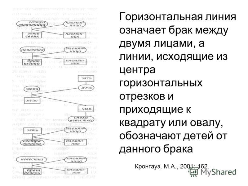 Горизонтальная линия означает брак между двумя лицами, а линии, исходящие из центра горизонтальных отрезков и приходящие к квадрату или овалу, обозначают детей от данного брака Кронгауз, М.А., 2001: 162.