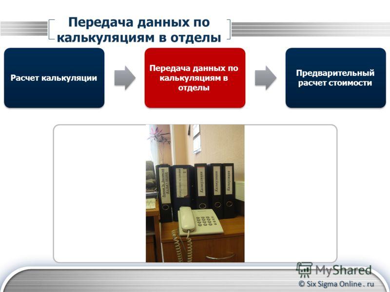 © Six Sigma Online. ru Передача данных по калькуляциям в отделы Расчет калькуляции Предварительный расчет стоимости Передача данных по калькуляциям в отделы