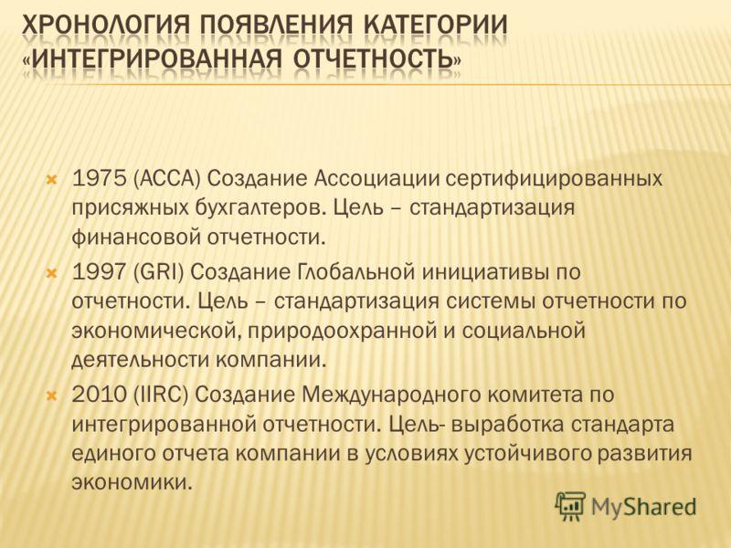 1975 (ACCA) Создание Ассоциации сертифицированных присяжных бухгалтеров. Цель – стандартизация финансовой отчетности. 1997 (GRI) Создание Глобальной инициативы по отчетности. Цель – стандартизация системы отчетности по экономической, природоохранной
